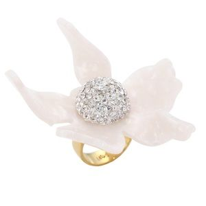 LELE SADOUGHI • White Orchid Lily Crystal Ring